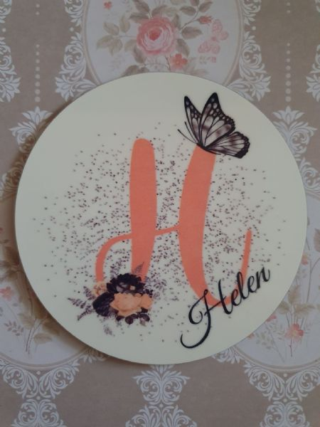 Initial Personalised Butterfly & Flowers Coaster